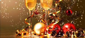 New Year's Eve items - glass balls, ribbon & Champaign glasses