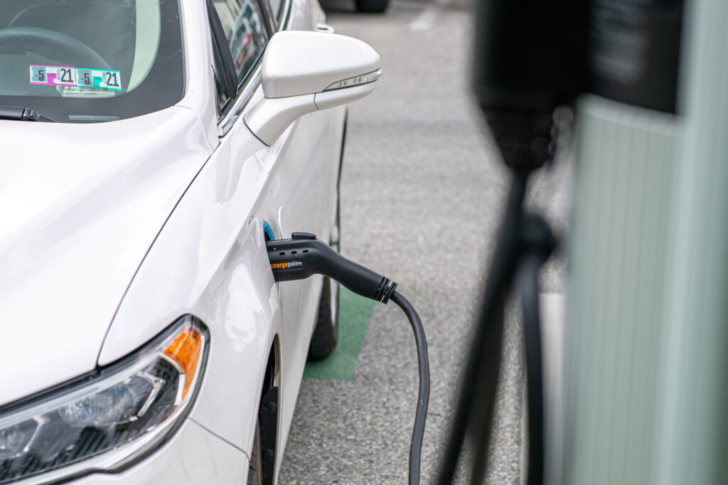 an electric car charging at AmishView Inn & Suites