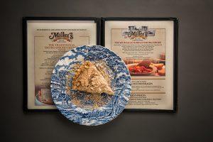 Millers Smorgasbord pie plate on a menu